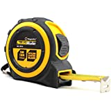 Professional Quality Tape Measure Magnelex SolidRule For Construction, Home Use, Hobbies, DIY, Smooth Sliding Nylon Coated Measuring Tape Ruler, Strong Belt Clip, Rubber Covered Case - 16-Foot (5m)