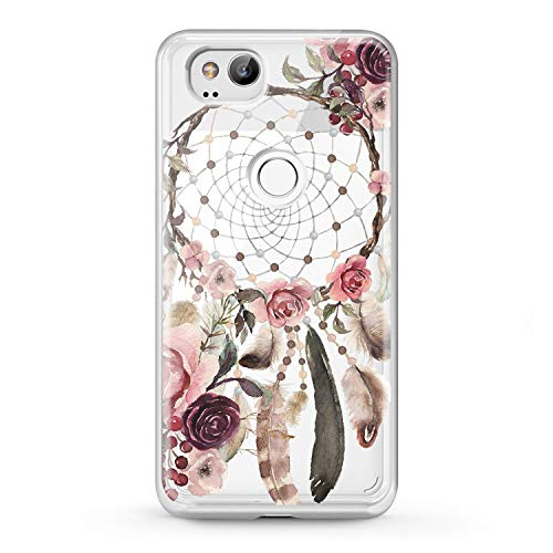 Lex Altern Case Google Pixel 2 TPU XL 3 Cute Dreamcatcher Clear Pink Phone Floral Soft Tribal Silicone Flowers Girly Women Roses Feathers Cover Protective Transparent Design Print Flexible Boho