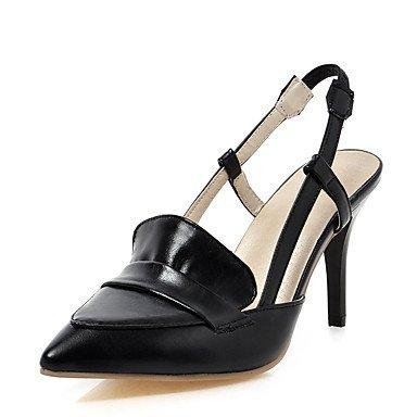 LFNLYX La mujer verano sandalias Slingback polipiel boda vestido de noche y Stiletto talón Beige Rosa Negro Otros Black