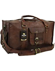 Yuge Bear 21 DS1 Vintage Leather Carry On Travel Weekender Duffel Bag