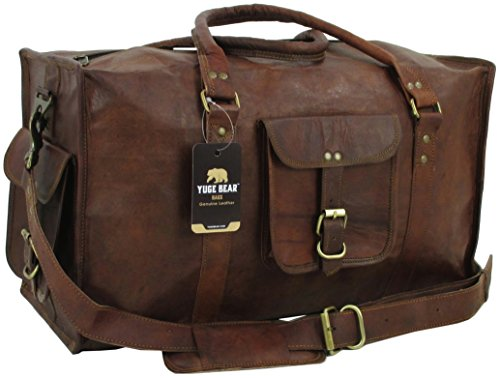 Yuge Bear 21'' DS1 Vintage Leather Carry On Travel Weekender Duffel Bag by Genuine Leather Bag Shop