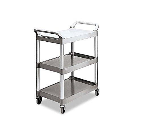 Economy Plastic Cart, Three-Shelf, 18-5/8w X 33-5/8d X 37-3/4h, Platinum
