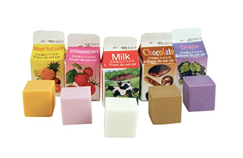 Kikkerland Scented Erasers, Milk Cartons (ER05) (Cute Erasers For Girls)