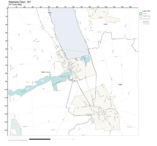 ZIP Code Wall Map of Watkins Glen, NY ZIP Code Map Laminated