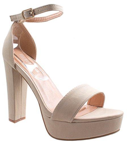 Asushoes Women's Top Moda Thomas-52 Beige Open Toe High Chunky Block Heel Platform Ankle Strap Sandals 7 D(M) US