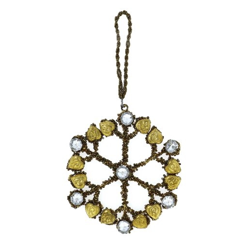 Birthday Party Decoration Gold Snow Flake with Crystals Ornaments Set of 4