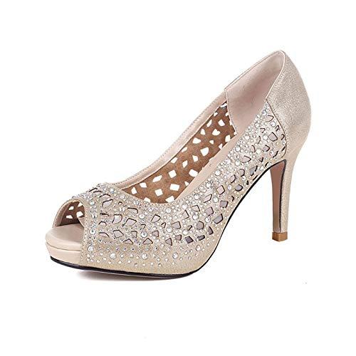 Hollow Cordones Spike Toe Sólido Gold Plataforma Peep Casual Altos Nueva Verano Tamaño Zapatos De 39 Sandalias Tacones Hoesczs Sin Mujer 34 xpXqwxP