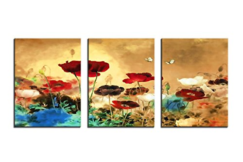 YPY Blooming Poppies Wall Art Colorful Floral Pictures Butterfly Print on Canvas 3 Panel Stretched and Framed Ready to Hang for Home Decoration 12x16in