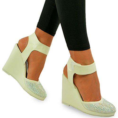 Cucu Fashion 2017 Brand Womens Ladies New Ankle Strap Pumps Diamante Stud  Wedges High Heel Shoes
