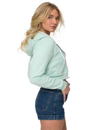 (American Apparel Women's Cropped Flex Fleece Zip Hoodie Size M Menthe)