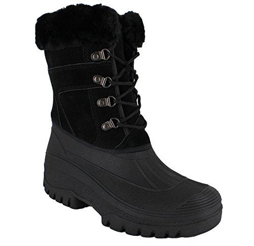 Groundwork LS005–Botas de nieve para mujer, diseño con cordones negro
