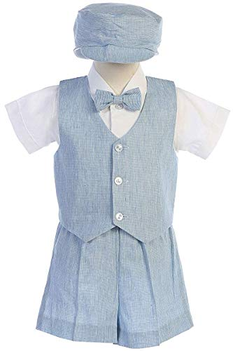 Light Blue Baby Boys Cotton Linen Vest & Shorts Set for Easter Birthday Wedding Summer Special Occasion USA - Blue Boys Light Linen
