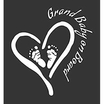 Amazon Com Grand Baby On Board Heart Feet Die Cut