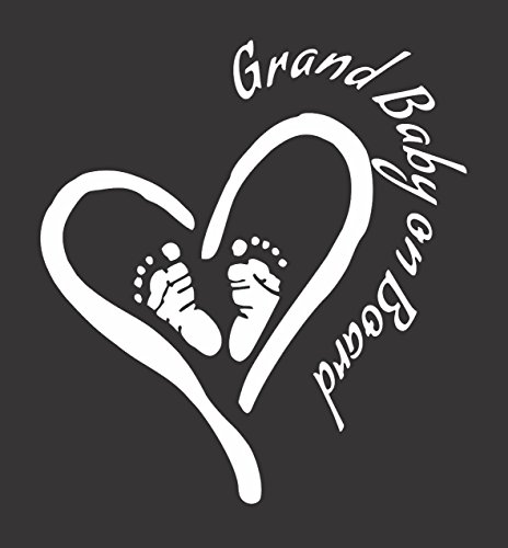 (Grand Baby on Board (Heart/Feet) - Die Cut Vinyl Window Decal/Sticker for Car/Truck 5.5