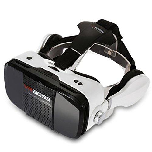 VR BOSS Virtual Reality 3D Glasses with Earphones - White + Black
