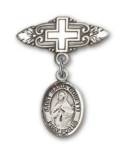 Icecarats Créatrice De Bijoux En Argent Sterling St. Maria Goretti Broche De Badge Charme Avec Une Croix X 3/4