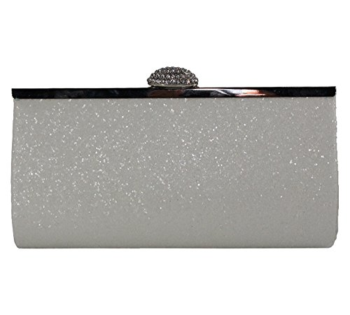for White Formal Glitter Evening Women Wedding Party Sparkly Bag Purse Missfiona Clutch Pq6xzZw7n