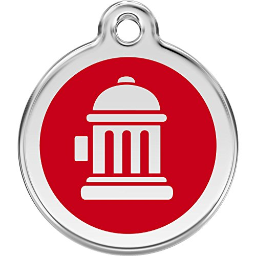 Red Dingo Personalized Fire Hydrant Pet ID Dog Tag (Medium Red) ()