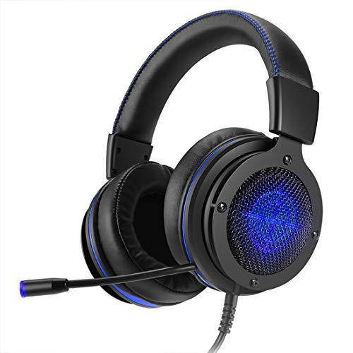 Stereo Gaming Headset, Lightweight, deep Bass, Noise canceling Headphones Mic 3.5mm Jack PS4, PC,Mac, Xbox One, Cell phon Blue