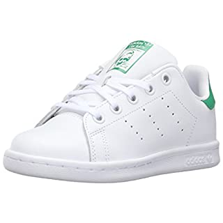 adidas Originals Kids' Stan Smith Sneaker, Footwear White/Footwear White/Green, 4