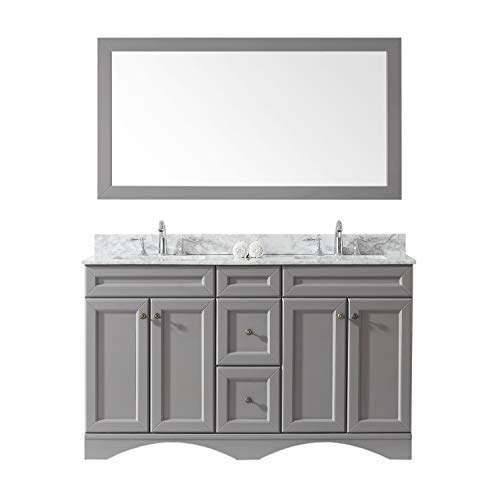 Virtu USA ED-25060-WMSQ-GR Talisa Double Bathroom Vanity with Marble Top/Square Sink with -