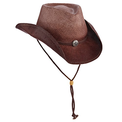 NEW SCALA WESTERN 8BU SOFT TOYO STRAW SPACE DYED COWBOY HAT WITH CHIN CORD (ST87) (CHOCOLATE)