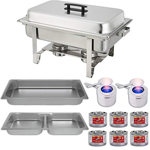 (Chafing Dish Buffet Set w/Fuel - Divided pan (4qt x 2)+ Full Pan (8 qt) Water Pan + Frame + Fuel Holders + 6 Fuel Cans - Warmer kit)