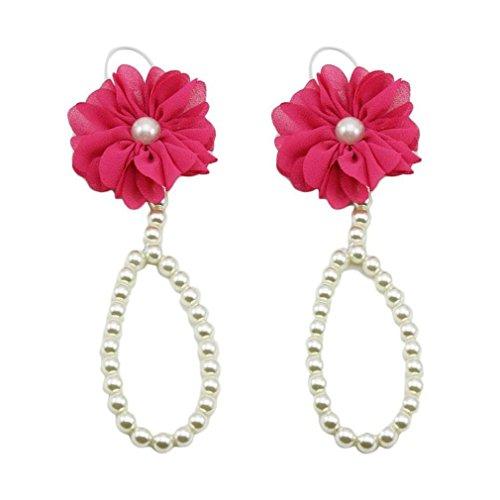 Koly 1 Par Chiffon Infantil Flor pies sandalias de playa (Rosado) Rosa caliente