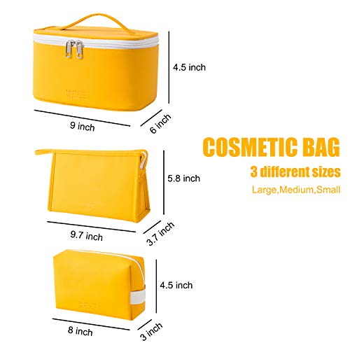 MIRASON Cosmetic Bag Set of 3 Makeup Bag for Purse Pouch Travel Beauty Zipper Organizer Bag Gifts for Girl Women, PU Leather Washable Waterproof (Yellow)