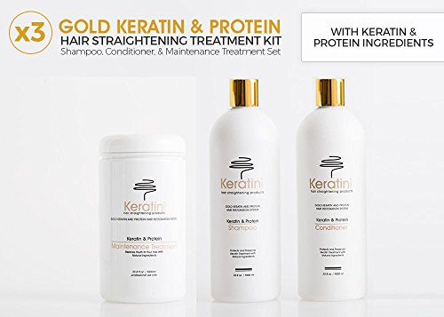 Keratin Protein Hair-Straightening Shampoo, Conditioner and