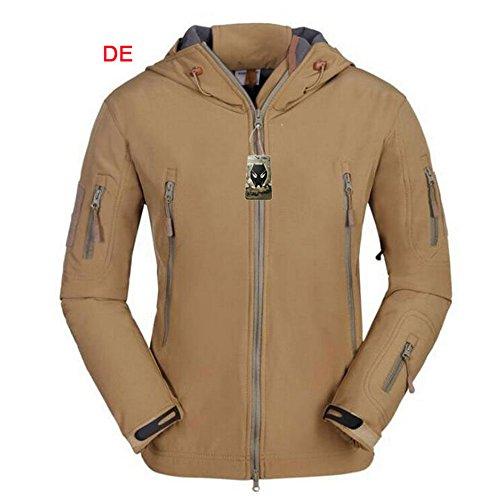 ATAIRSOFT Multi Colors Men's Outdoor Military Shark Skin Softshell Tactical Waterproof Jacket (DE, L) (Marpat Coat)
