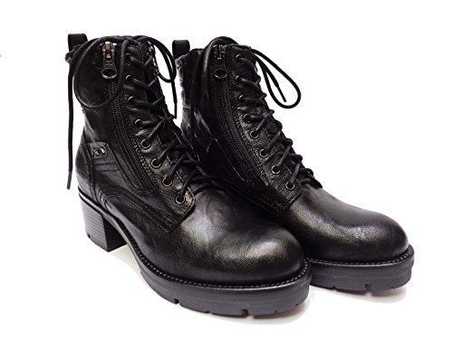 """Nero Giardini 19922 scarpe da donna modello """"anfibio"""" in pelle col. Nero tacco cm. 5, num. 37"""