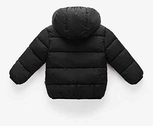 Girl's Warm Fleece Lined Solid Jacket Winter Cute Shearling Pea Coat for Kids 120 Black by Luodemiss (Image #2)
