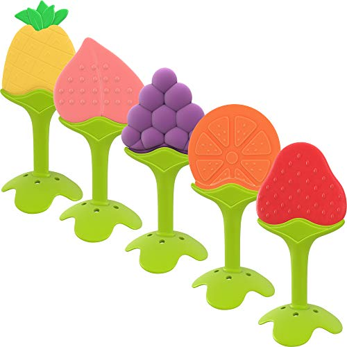 Giggles Haven 5-Pack Teething Toys – BPA-Free Silicone Fruit Baby Teether Toys