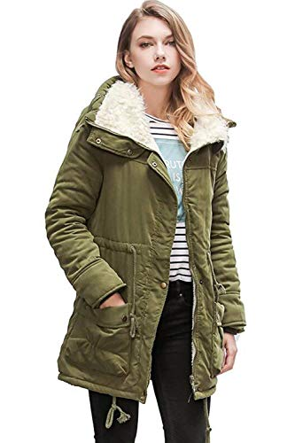 Solid Women Warm Armygreen Jacket Drawstring Parker Velvet Pockets Autumn Color Pretty Elegant Slit Cozy Betrothales Winter Outerwear Coat Overcoat Long with Sleeve Thick HBfxqx5