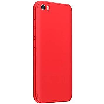 CLTPY Funda para Xiaomi Mi5, [High Pro Shield] Xiaomi Mi5 Carcasa [3 en 1] Desmontable Ultra-Delgado Rojo Cubierta Trasera de Plástico Duro y Marco ...