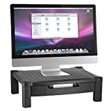 Halter LZ-302A Monitor Stand/Monitor Riser with Pull Out Drawer and Cable Management - Black