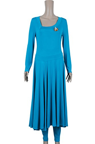 XOMO Star Trek Cosplay Commander Deanna Troi Blue Costume Female (Deanna Troi Costume)