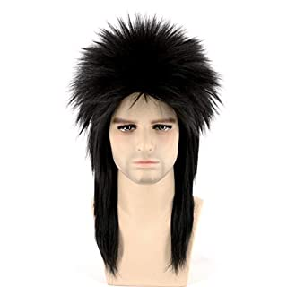Topcosplay Unisex 80s Spiked Rocker Wig Halloween Costume Punk Metal Mullet Wig