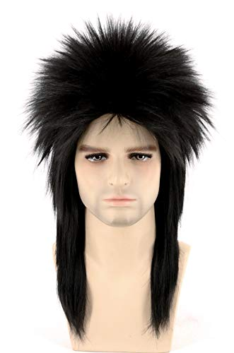 Topcosplay Unisex 80s Spiked Rocker Wig Halloween Costume Punk Metal Mullet ()