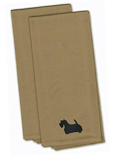 Caroline's Treasures BB3469TNTWE Scottish Terrier Tan Embroidered Kitchen Towel (Set of 2), 28