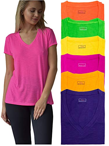 Women's Everyday Flowy Slub Burnout Active Casual Workout V Neck T Shirt Tops- 6 Pack (6 PK-Neon Green/Yellow/Orange/Red/Purple/Pink, XX-Large)