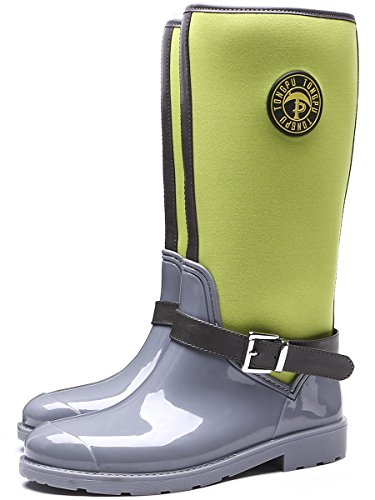TONGPU Womens Outdoor Waterproof Boots Fashion Garden Rain Shoes Grey Green JyUZlz
