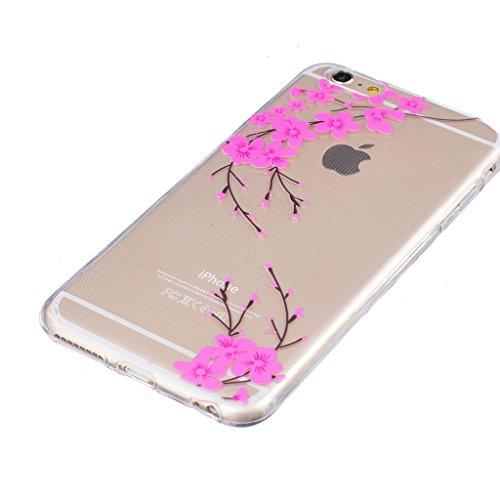 "Hülle iPhone 7, IJIA Ultra Dünnen Rosa Blühende Pfirsichbäume TPU Weich Silikon Handyhülle Schutzhülle Handyhüllen Schale Cover Case Tasche für Apple iPhone 7 (4.7"") + 24K Gold Aufkleber"