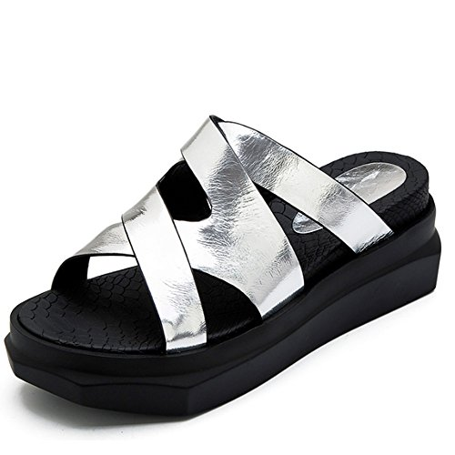 Cómodo Los deslizadores de la panadería salen los deslizadores Zapatillas originales del desgaste de la manera de Suifeng del verano femenino Las sandalias salvajes aumentan los deslizadores inferiore B