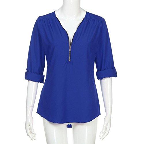Sport À Mode Grande Décontractée Chic Et shirt T Femmes Haut Adeshop Bleu Taille Blouse Casual Zipper Tops Élégant Printemps Automne Topss Manches Longues Col Mousseline V RqfgOUd