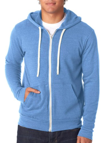 Canvas 3909 Unisex Triblend Sponge Fleece Full-Zip Hoodie, Blue TriBlend, Large