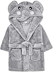 Baby/Toddlers Animal/Embroidered Fleece Hooded Dressing Gown Robe