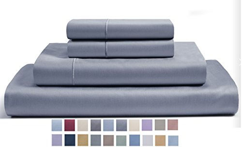 CHATEAU HOME COLLECTION 800-Thread-Count Egyptian Cotton Deep Pocket Sateen Weave Sheet Set (King, Granite Grey)