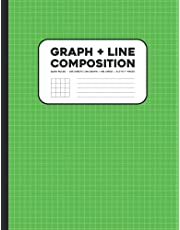 Graph + line Composition Notebook: 8.5x11, Quad Ruled, 200 Sheets (100 graph paper front + 100 lined backside)